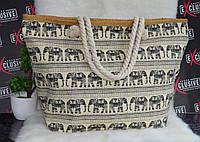 Пляжная сумочка с канатными ручками слоны., фото 1