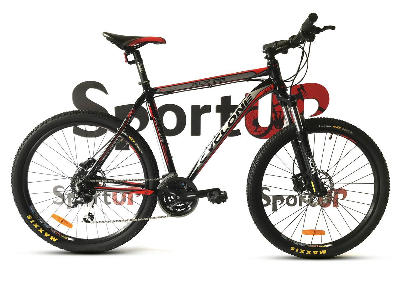 """Горный велосипед CYCLONE ALX 26"""" Черный/Красный"""