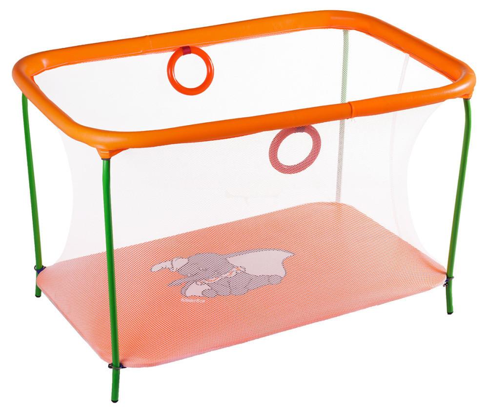 Манеж детский игровой KinderBox люкс Оранжевый слоник с мелкой сеткой (km558)