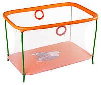 Манеж детский игровой KinderBox люкс Оранжевый слоник с мелкой сеткой (km558), фото 1