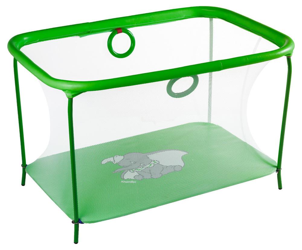 Манеж детский игровой KinderBox люкс Салатовый слоник с мелкой сеткой (km559)