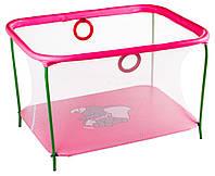 Манеж детский игровой KinderBox люкс Малиновый слоник с мелкой сеткой (km510), фото 1