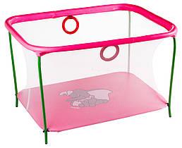 Манеж детский игровой KinderBox люкс Малиновый слоник с мелкой сеткой (km510)