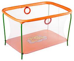 Манеж детский игровой KinderBox люкс Оранжевый мишка с мелкой сеткой (km 5511)