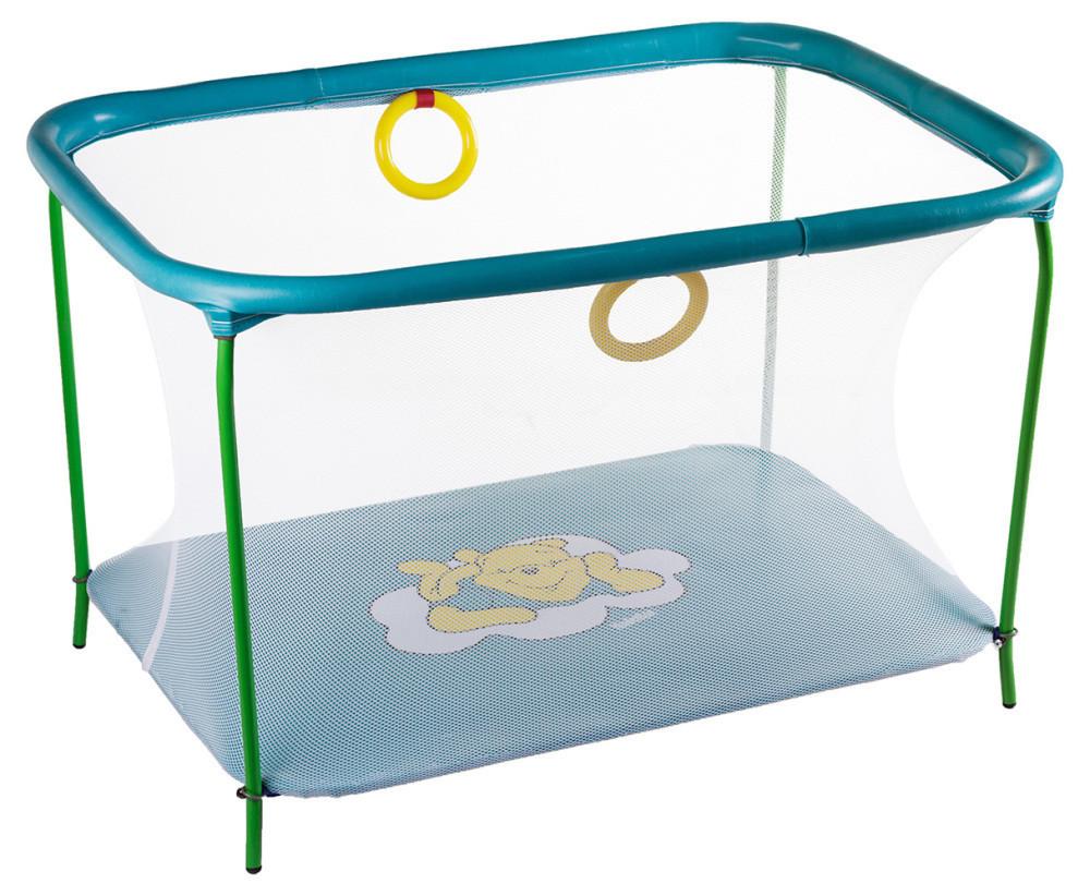 Манеж детский игровой KinderBox люкс Бирюзовый мишка с мелкой сеткой (km 5513)