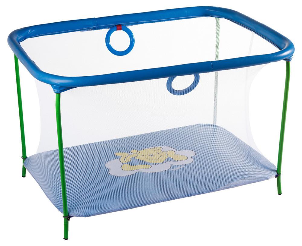 Манеж детский игровой KinderBox люкс Темно-голубой, мишка с мелкой сеткой (km 5519)