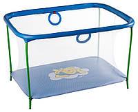 Манеж детский игровой KinderBox люкс Темно-голубой, мишка с мелкой сеткой (km 5519), фото 1
