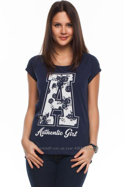 Синяя женская футболка De Facto / Де Факто с надписью на груди Authentic girl