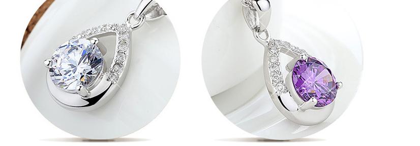 Серебряный кулон Капля с белым и фиолетовым камнем стерлинговое серебро 925 проба, фото 1
