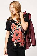Черная женская футболка De Facto / Де Факто с рисунком-цветы на груди