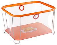 Манеж детский игровой KinderBox солнышко Оранжевый мишка с мелкой сеткой (kms 7324)