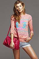 Розовый женский свитер De Facto / Де Факто с рисунком на груди, фото 1