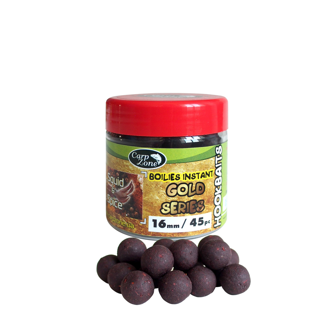 Бойлы насадочные вареные Boilies Gold series Instant Hookbaits Squid & Spice