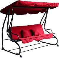 Садовая качеля - диван 3-4 местная раскладная RELAX PLUS + подушки Красная НАЛИЧИЕ