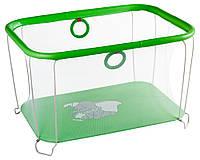Детский манеж игровой KinderBoxс солнышко Зеленый слоник с мелкой сеткой (kms 66328)