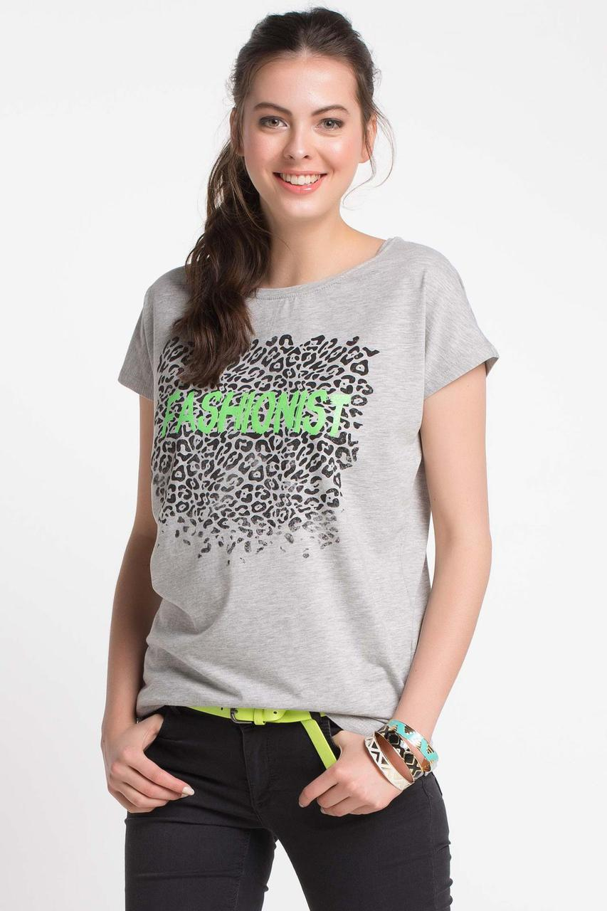 Серая женская футболка De Facto / Де Факто с надписью на груди Fashionist