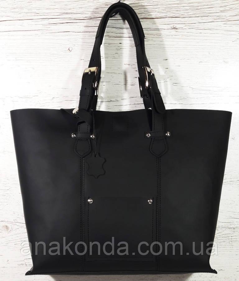 01-1  Натуральная кожа, Большая сумка женская, ШОППЕР, черная, ультраматовая, с мешком на молнии