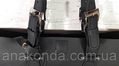 01-1  Натуральная кожа, Большая сумка женская, ШОППЕР, черная, ультраматовая, с мешком на молнии, фото 2