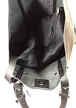 01-1  Натуральная кожа, Большая сумка женская, ШОППЕР, черная, ультраматовая, с мешком на молнии, фото 3