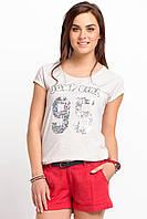 Серая женская футболка De Facto / Де Факто с надписью на груди Jump girl 95, фото 1