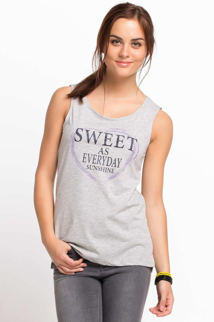 Серая женская майка De Facto / Де Факто с надписью на груди Sweet as everyday