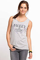 Серая женская майка De Facto / Де Факто с надписью на груди Sweet as everyday, фото 1