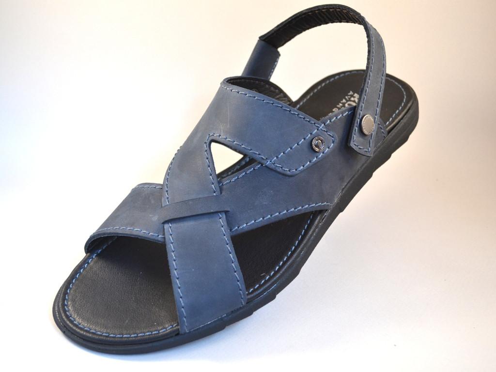 Сандалі босоніжки шкіряні сині чоловіче взуття великих розмірів Rosso Avangard BS Sandals Bertal Blu