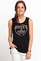 Черная женская майка De Facto / Де Факто с надписью на груди Sweet as everyday, фото 1
