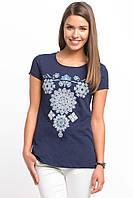 Синяя женская футболка De Facto / Де Факто с рисунком-орнамент на груди
