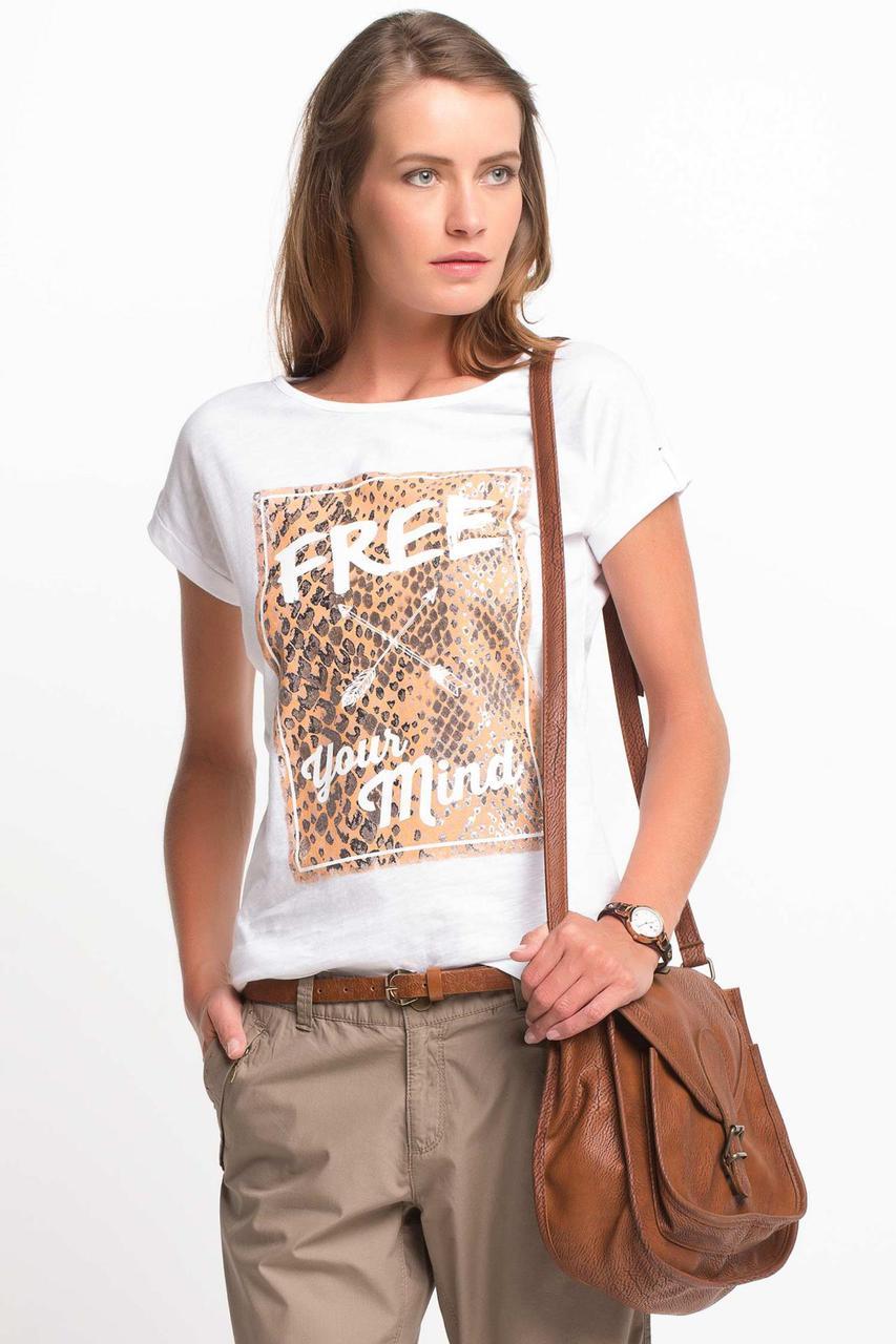 Белая женская футболка De Facto / Де Факто с надписью на груди Free your mind