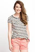 Белая женская футболка De Facto / Де Факто в черные полоски и розовые точки