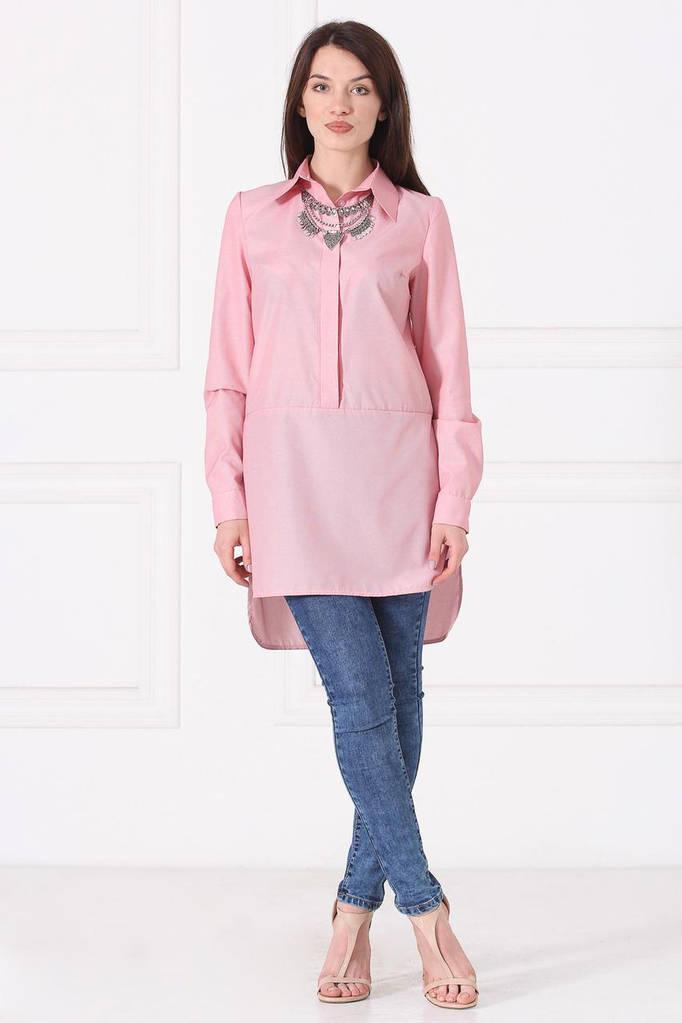 Розовая туника-рубашка KORE с фалдами а-ля фрак
