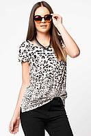 Серая женская футболка De Facto / Де Факто в леопардовый принт спереди, фото 1