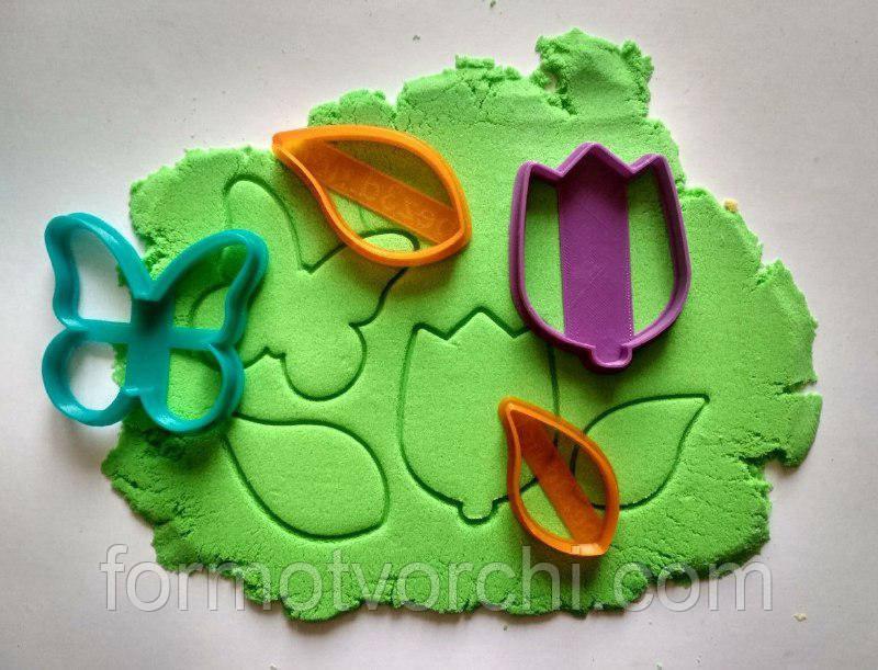 "3D формочки-вырубки для пряников ""Тюльпан. Листики.Бабочка"""