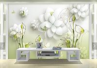 """3D фотообои """"Белые цветы"""""""