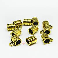 Металлические бейлы-бусины с кольцом 8х7мм золото для рукоделия