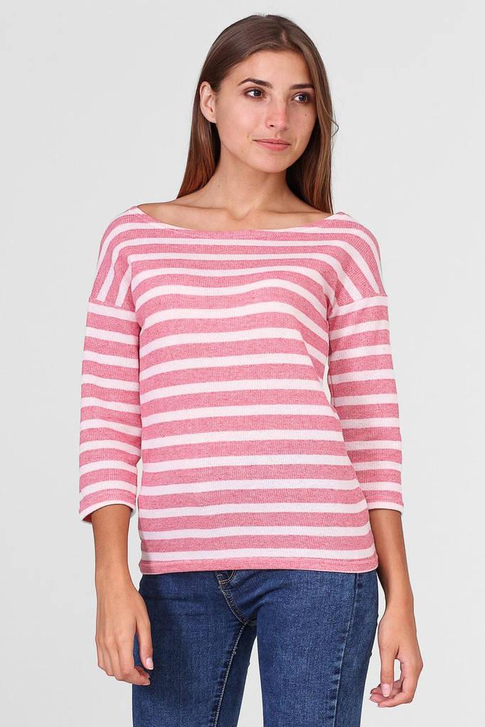 Розово-белая полосатая кофта JULIE с широким вырезом горловины