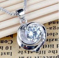 Серебряный кулон Роза с белым камнем куб. цирконий стерлинговое серебро 925 пробы