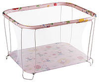 Манеж детский игровой KinderBox классический Розовый божьи коровки мелкая сетка (kmk 359)
