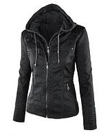 Крутая кожаная куртка со съемным капюшоном и двойной молнией... M-L