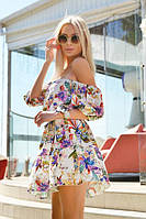 Легкое короткое платье под пояс (К23364)