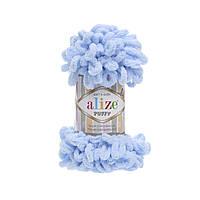 Турецкая пряжа для вязания  Alize Puffy (пуффи) пряжа вяжется  руками   183 голубой