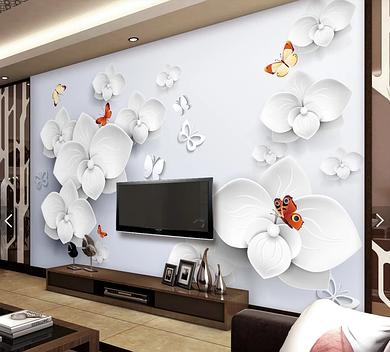 "3D фотообои ""Белые орхидеи"""