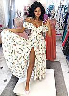 Нарядное платье в пол фасона «на запах» с юбкой клёш