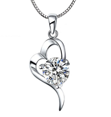 Серебряный кулон Сердце с белым камнем стерлинговое серебро 925 пробы