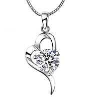 Серебряный кулон Сердце с белым камнем стерлинговое серебро 925 пробы, фото 1