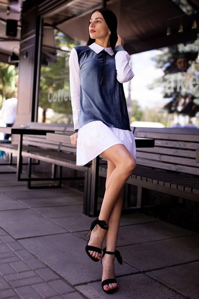 Платье ANNA плиссе с имитецией рубашки, воротником и бантиком