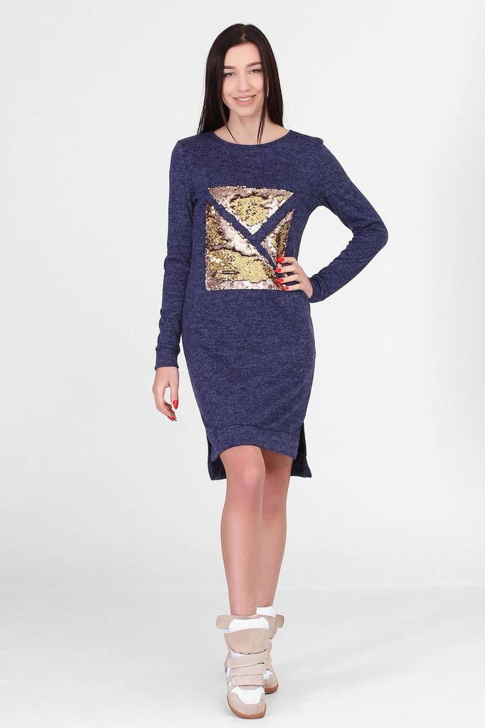 Синее платье MICHELLE с удлиненной спинкой и пайетками