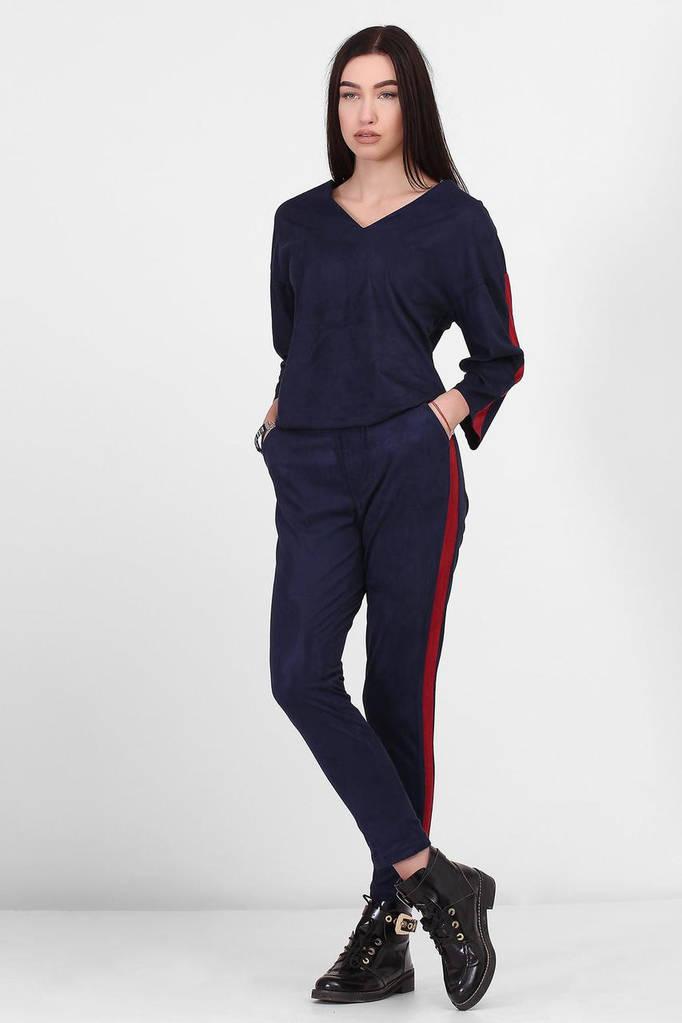 Темно-синие замшевые брюки BETTY с лампасами