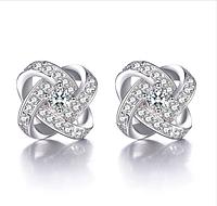 Серебряные серьги Роза стерлинговое серебро 925 пробы (код 0021)